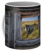 Old Farm Wagon Viewed Through A Barn Window Coffee Mug