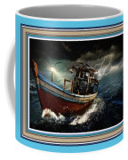Old Fishing Boat In A Storm L B With Decorative Ornate Printed Frame. Coffee Mug