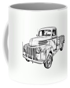 Old Flat Bed Ford Work Truck Illustration Coffee Mug