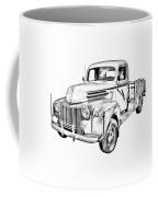 Old Flat Bed Ford Work Truck Illustration Coffee Mug