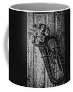 Old Horn And Roses On Door Black And White Coffee Mug