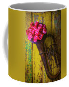 Old Horn And Roses On Door Coffee Mug