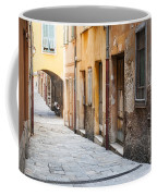 Old Houses On Narrow Street In Villefranche-sur-mer Coffee Mug