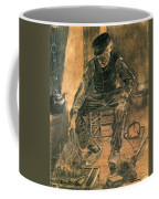 Old Man At The Fireside Coffee Mug