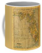 Old Map Of Florida Vintage Circa 1893 On Worn Distressed Parchment Coffee Mug