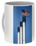 Old Mill Smoke Stacks With Flag Coffee Mug