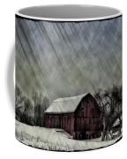 Old Red Barn In Winter Coffee Mug