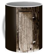 Old Rustic Black And White Barn Woord Door Coffee Mug