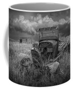 Old Truck Abandoned In The Grass In Black And White At The Ghost Town By Okaton South Dakota Coffee Mug