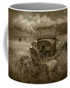 Old Truck Abandoned In The Grass In Sepia Tone Coffee Mug
