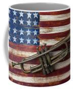 Old Trumpet On American Flag Coffee Mug