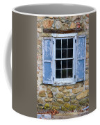 Old Village Window With Blue Shutters Coffee Mug