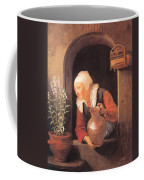 Old Woman Watering Flowers 1665 Coffee Mug