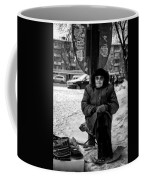 Old Women Selling Woollen Socks On The Street Monochrome Coffee Mug