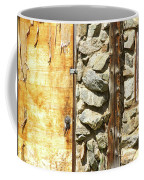 Old Wood Door Window And Stone Coffee Mug
