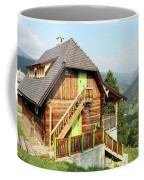 Old Wooden House On Mountain Landscape Coffee Mug