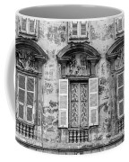 Old Yellow Building With Lace Curtain In Nice, France, Black And Coffee Mug