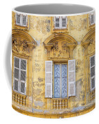 Old Yellow Building With Lace Curtain In Nice, France Coffee Mug