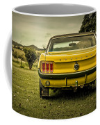 Old Yellow Mustang Rear View In Field Coffee Mug