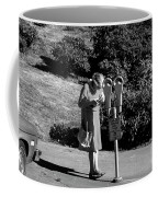 Older Woman Paying Parking Meter Coffee Mug