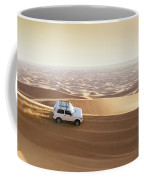 One 4x4 Vehicle Off-roading In The Red Sand Dunes Of Dubai Emirates, United Arab Emirates Coffee Mug
