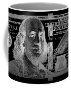 One Hundred Us Dollar Bill - $100 Usd In Silver On Black Coffee Mug