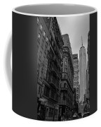 One World Trade Center New York Ny From Nassau Street Black And White Coffee Mug