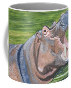 Open Mouthed Hippo On Wood Coffee Mug