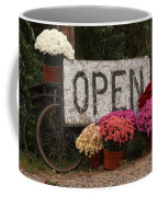 Open Sign With Flowers Fine Art Photo Coffee Mug