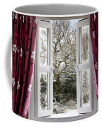 Open Window With Winter Scene Coffee Mug