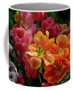 Orange And Red Tulip Lilies In Various Stages Of Bloom Coffee Mug