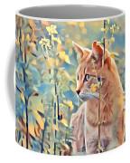 Orange Cat In Field Of Yellow Flowers Coffee Mug
