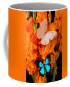 Orange Glads With Two Butterflies Coffee Mug