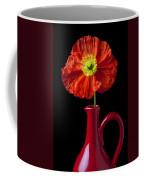 Orange Iceland Poppy In Red Pitcher Coffee Mug