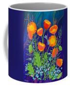 Orange Poppies And Forget Me Nots Coffee Mug