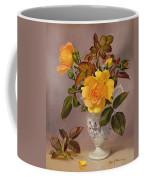 Orange Roses In A Blue And White Jug Coffee Mug