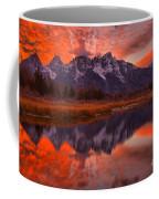 Orange Skies Over The Tetons Coffee Mug