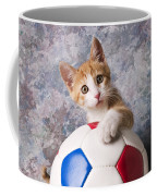 Orange Tabby Kitten With Soccer Ball Coffee Mug
