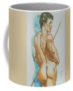 Original Watercolor Painting Art Male Nude Men On Paper #12-25-02 Coffee Mug