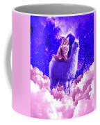 Outer Space Galaxy Kitty Cat Riding On Llama Coffee Mug
