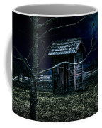 Outhouse In The Moonlight With Flying Crows Coffee Mug