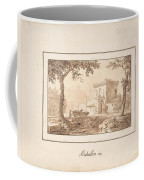 Oxcart Approaching A Fortified Building Coffee Mug