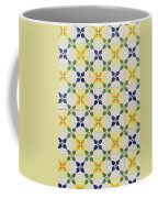 Painted Patterns - Floral Azulejo Tiles In Blue Green And Yellow Coffee Mug