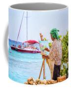 Painter At Work, Holetown Beach, Barbados Coffee Mug