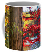 Painterly Rendition Of Red Leaves And Tree Trunk In Autumn Coffee Mug