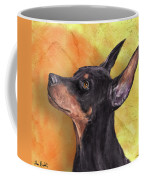 Painting Of A Cute Doberman Pinscher On Orange Background Coffee Mug
