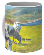 Painting Of Sheep On A Cliff Top Coffee Mug