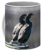 Pair Double-crested Cormorant 3 March 2018 Coffee Mug by D K Wall
