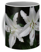 Pair Of Flowering White Stargazer Lilies In Bloom Coffee Mug