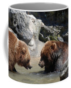 Pair Of Grizzly Bears Wading In A Shallow River Coffee Mug
